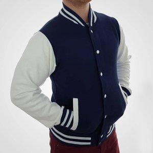 Куртка Blue College Letterman Partment Partber Partball Top American Fashion Одежда Университет Женский Мужской нарез