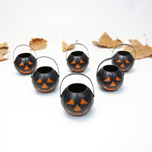 Halloween Decorations Black Small Pumpkin Bucket With Handles Plastic Candy Buckets For Kids Trick or Treat children's Toy OWE9977