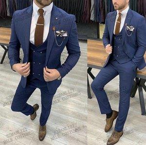 Blue Striped Block Blazer Мужчины Свадебный костюм Последние Пальто Бюжинги Дизайн Slim Fit 3 Шт. Tuxedo Groom Prom Костюмы Ternos Мужские Blazers