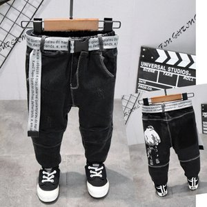 2021 Cinto de Cinto das Crianças Crianças Calças Baby Boys Jeans Plus Velvet para Baby Boys Denim ToDdler Roupas 2-7 Anos KO49 750 Y2