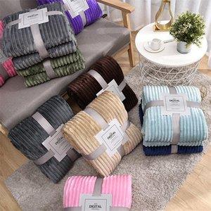Blankets Solid Striped Throw Blanket Flannel Fleece Super Soft Winter Warm Fluffy Bed Linen Bedspread For Sofa Bedroom Decor
