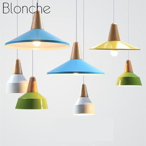 Pendant Lamps Modern Light Colorful Wood Aluminum Hanging Lamp Indoor Restaurant Bar Cafe Living Room Home Decor Lighting Fixtures E27