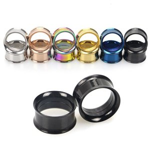 Hot Unisex 2PC Steel auricle Ear Plugs Tunnel Earring Gauges Hollow Piercings Tunnels Expanders Rings Color Mixed Body Jewelry