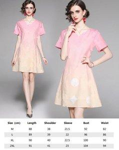 2021 Ribbon Bow Shirt Dressr Runway Frauen Gedruckt Kurzarm Revers Casual Office Mini Kleider Schöne Damen Slim Summer Party Prom Bekleidung