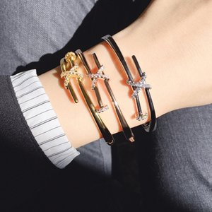 Stainless Steel Nail Bracelet Inlay Diamond Screw Nail Cuff Bracelet Women Men Luxury Designer Jewelry for Women with Boxs