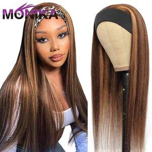 4 27 Highlight Headband Scarf Brazilian Half Gluls Hu Hai Burgundy Blonde Omber Remy Bone Straight Hair Wigs