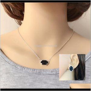 10 Colors Druzy Drusy Jewelry Set Resin Crystal Stone Earings Brand Hexagon Ear Stud Collar Women Party Wln0G 0Rgcp