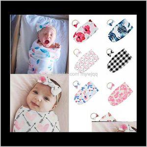 Nursery Bedding Baby Kids Maternity Drop Delivery 2021 Bags Born Blanket Kid Baby Sleeping Infant Print Swaddle Headband Set Yhm1471 Qjnjy