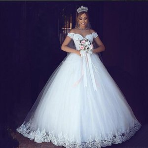 ZJ9143 White Ivory Lace Appliques Ball Gown Cheap Off The Shoulder Short Sleeves Bridal Dress Wedding Dresses
