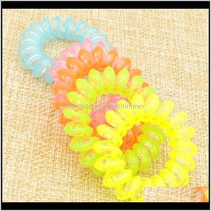 Accessories Rope Children Hairband 100 Pieces Lot Size 3 5Cm Fashion Headbands Fluorescence Scruchies Hair Band Telephone Line Wire El Snj3Y