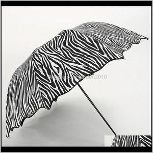 Zebra Design 3 Folding Sun Rain Umbrellas For Woman Female Black Coating Sunny And Rainy Protect Umbrella Apjnz Tewlr
