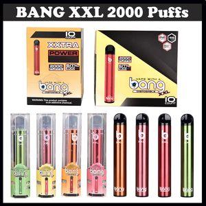 전자 담배 키트 bang xxl xxtra 퍼프 vape 펜 2000 퍼프 6ml 사전 충전 된 흡연 오일 포드 800mah 일회용 배터리 상자 포장