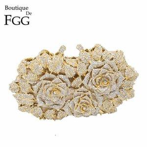 Blendende Frauen Gold Rose Blume Aushöhlen Kristall Abend Metallkupplungen Kleine Minaudiere Handtasche Geldbörse Wedding Box Clutch Bag Q1106