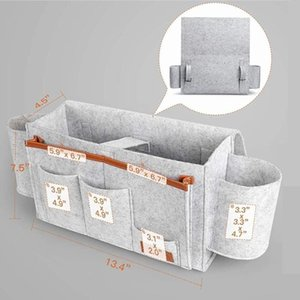 1pc Durable Useful Felt Headboard Storage Bags Bed Couch Desk Book Holder Pockets Multi Compartment Bedside Organizer