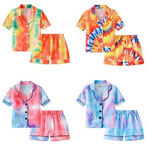 Ins pijamas infantis conjuntos de moda gradiente pijamas ternos meninos de verão meninas gravata tintura tintura de manga curta shorts home out two peça definir estudantes sleepwear gg6214j1