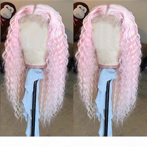 Pink Lace Front Wigs Human Hair 13X4 Pre Plucked Blonde Blue Grey Wigs For Black Women Brazilian Remy Water Wave