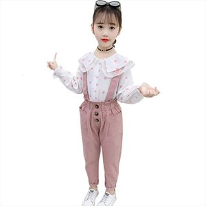 Clothes For Girls Lace Flower Costume Dot Blouse Jumpsuit Set Casual Style School Tracksuit Kids