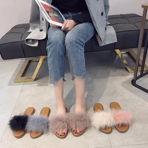Shoes Women Ladies' Slippers Flock Pantofle Fur Flip Flops Luxury Slides Soft Flat 2021 Plush Massage Designer Fashion Basic Fa