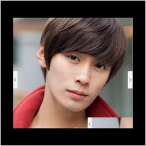 Synthetic Wigs Products Drop Delivery 2021 Z&F Mens Fashion Men Short Black Brown Wig Hair For Asia Curly Boy Cosplay Korea Style Jpeh6