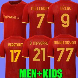 Главная Футбол Джерси Заниоло Рома Джеко паста Rome Totti Kluivert Kolarov AS 21 22 футбольная футболка 2021 2022 мужчин + детский комплект Униформа Maillot