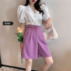 2 Piece Shorts Skirts Suit New Korean Shirt Pleated Short Skirt Shorts Pants Two-piece 210412