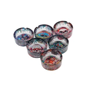 water drop glass ashtray side color printing cartoon 85mm ghost head pattern smoke wholesale