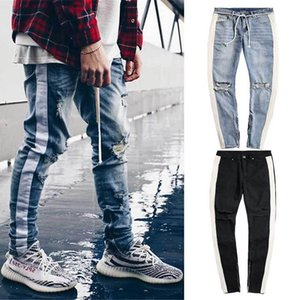 Mens Jeans 2021 Spring Autumn Patchwork Casual Sweatpants Skinny Ripped Big Hole Lace Up Stripe Pants Plus Size Men's