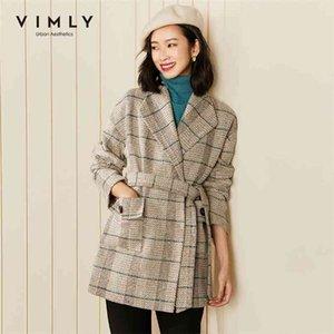 VIMLY Winter Plaid Coats and Jacket Fashion Lapel Pockets Belt Overcoat Elegant Female Blazer Woolen Coat F2998 210902
