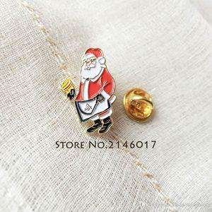 Металлический мультфильм Mason Men Pin Santa Masonic Master Gardge Рождественский отворот 10 шт. Булавки Брош Фартук Фартуэзон пользовательских эмаль Xmas MMXXO
