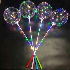 Yanıp Sönen Işık LED Bobo Topu Flaş Balonlar Yıldız Unicorn Kalp Aşk Noel Ağacı Şekli Şeffaf Temizle Düğün Parti Balon Ile Sopa Kolu Dekor LY6803