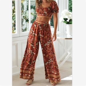 Women Set Puff Sleeve Elastic Waist Wide Leg Beach Pants Bohemia Sets Summer Two Piece Boho Floral Elegant Suit 2021 Dress