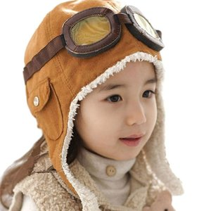 Children Winter Bomber Warm Hats Lift Glasses Young Pilot Hat Girl Hearing Protection Soft Artificial Fur Caps T016