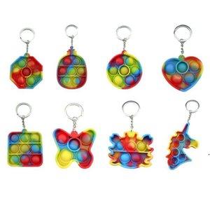 압축 해제 단순한 딤플 Fidget 장난감 완구 푸시 버블 감각 장난감 다채로운 소프트 짜기 antistress 키 체인 펜던트 EWF7161