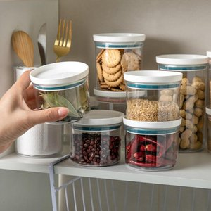 Kitchen Storage Glass Jar With Plastic Seal Cabinet Round Cereals Candy Tea Coffee Beans Spices Biscuits Containe Bottles & Jars