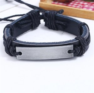 Cowhide Chain Weave Multilayer Bracelet Men Alloy Rope Bangle Black Brown Adjustable Jewelry Retro Personality Punk 1 6pk L2