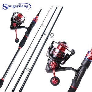 Sougayilang 1.8m 2.1m Spinning Fishing Rod And 13+1 BB Gear Ratio 5.5:1 Reel Carbon Fiber Combo Pesca