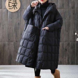 Women Losse Long Jacket 90% Eenden Dons Jas Winter Female Plus Size Overcoat Winter Jackets Women 2020 Stitches Hooded Parka
