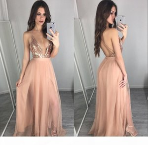 2018 Rose Gold Sequins Prom Dresses Sexy Deep V Neck Backless Bridesmaid Dress Vestidos Cheap Evening Party Gowns