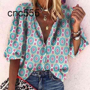 New Fashion Ins Style Summer Women's Lapel Printed Shirt Stylish for Women Top Blusa Mujer A09