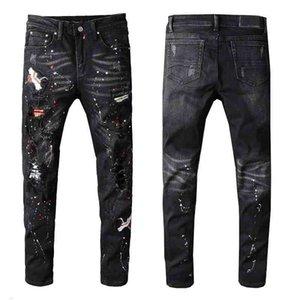Erkeklerin Sıkıntılı Yıkılı Kot Yamaları Yırtık Sıska Siyah Sıska Pantolon İnce Pantolon Yüksek Kalite W28-40 # 605