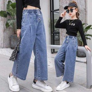 Bahar Kızlar Kot 2021 Moda Gevşek Stil Pantolon Kız Için 3-10 yaşında Çocuk Geniş Bacak Çocuk Giysileri
