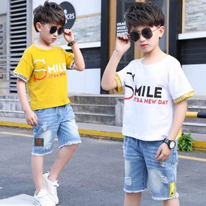Boys Sets Clothing Kids Suit Children Outfits Summer Cotton Cartoon Short Sleeve T-shirts Hole Jeans Shorts 2Pcs Casual Letter Teenage 4-12Y B4762