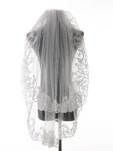 Bridal Veils Arrival Ivory White Lace Edge Wedding Accessories Tulle Veil With Comb
