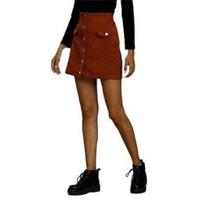Skirts Women Solid Corduroy Suede Mini Skirt Female Fashion High Waist Button Sexy A Line Short Autumn Winter 2021