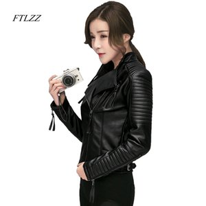 Ftlzz Новая Весна Осень Женщины Искусственные мягкие Кожаные Куртки PU Черные Blazer Молотные Мотоцикла Верхняя одежда Велосипедная Куртка