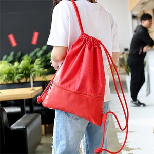 Portable Women Men Drawstring Backpack Large Capacity Shoulders Bag Travel Casual Shoes Clothes Storage Girls Nylon Zipper