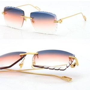 2021 Selling Women or Man Metal Large Square Rimless Men Sunglasses designer Pilot Adumbral 18K Gold Diamond cut Lens Thickness 3.0 UV400 Glasses Unisex Eyewear