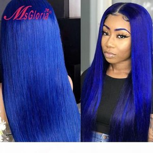 Blue Colored Straight Lace Front Human Hair Wigs For Women Pre Plucked Brazilian Remy Short BOB Transparent Lace Wigs 180%