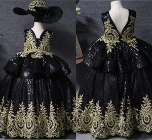 Chic Black Sequins Ivory Lace Flower Girl Dresses Party For Wedding 2021 V-neck Two Layers Ball Gown Mini Quinceanera Dress Toddler Teens
