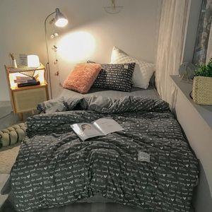 Bedding Sets Modern Printed Lattice Set Home Solid Color Duvet Cover Pillowcase Flat Bed Sheet Single King Size Bedlinens Bedclothes
